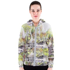 River Bridge Art Abstract Nature Women s Zipper Hoodie