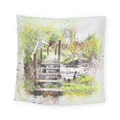 River Bridge Art Abstract Nature Square Tapestry (small)