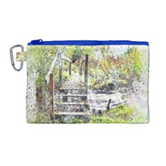 River Bridge Art Abstract Nature Canvas Cosmetic Bag (large)