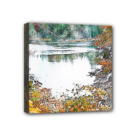 River Water Art Abstract Stones Mini Canvas 4  X 4