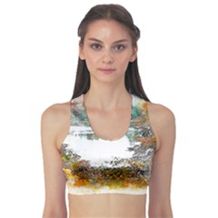 River Water Art Abstract Stones Sports Bra