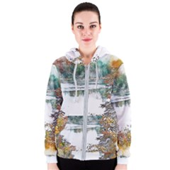 River Water Art Abstract Stones Women s Zipper Hoodie