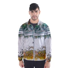 River Water Art Abstract Stones Wind Breaker (men)