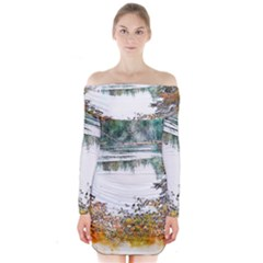 River Water Art Abstract Stones Long Sleeve Off Shoulder Dress