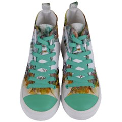 River Water Art Abstract Stones Women s Mid Top Canvas Sneakers