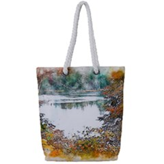 River Water Art Abstract Stones Full Print Rope Handle Tote (small)