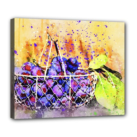 Fruit Plums Art Abstract Nature Deluxe Canvas 24  X 20