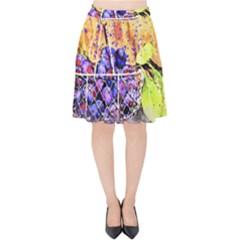 Fruit Plums Art Abstract Nature Velvet High Waist Skirt