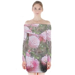 Flowers Roses Art Abstract Nature Long Sleeve Off Shoulder Dress