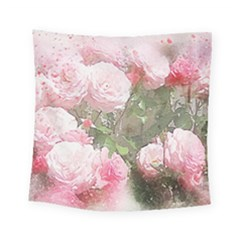 Flowers Roses Art Abstract Nature Square Tapestry (small)