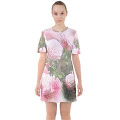 Flowers Roses Art Abstract Nature Sixties Short Sleeve Mini Dress