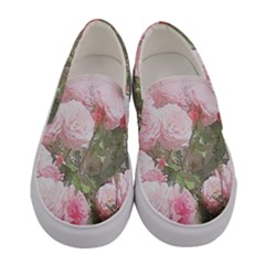 Flowers Roses Art Abstract Nature Women s Canvas Slip Ons