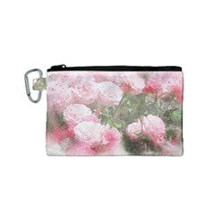 Flowers Roses Art Abstract Nature Canvas Cosmetic Bag (small)