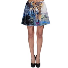 Tiger Drink Animal Art Abstract Skater Skirt