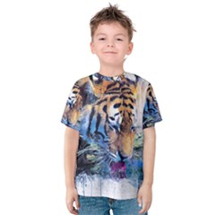 Tiger Drink Animal Art Abstract Kids  Cotton Tee