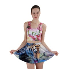 Tiger Drink Animal Art Abstract Mini Skirt