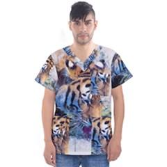 Tiger Drink Animal Art Abstract Men s V Neck Scrub Top