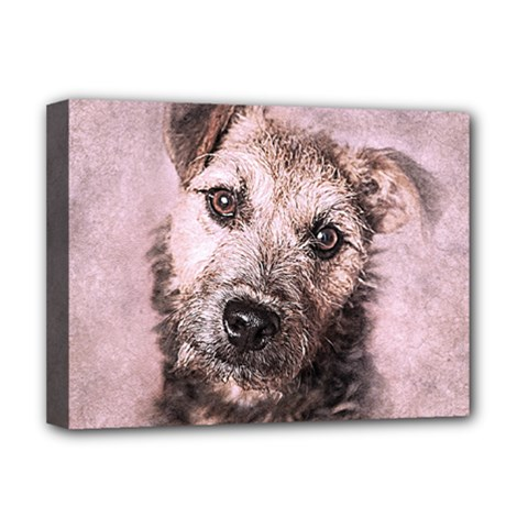 Dog Pet Terrier Art Abstract Deluxe Canvas 16  X 12