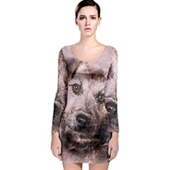 Dog Pet Terrier Art Abstract Long Sleeve Bodycon Dress