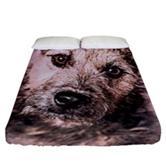 Dog Pet Terrier Art Abstract Fitted Sheet (queen Size)