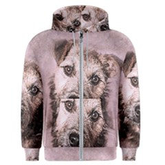 Dog Pet Terrier Art Abstract Men s Zipper Hoodie