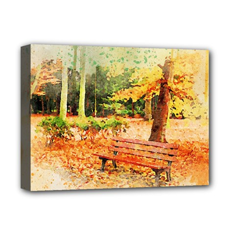 Tree Park Bench Art Abstract Deluxe Canvas 16  X 12