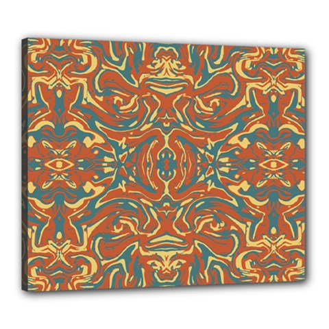Multicolored Abstract Ornate Pattern Canvas 24  X 20