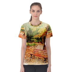 Tree Park Bench Art Abstract Women s Sport Mesh Tee
