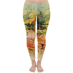 Tree Park Bench Art Abstract Classic Winter Leggings