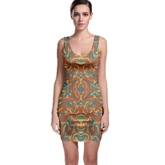 Multicolored Abstract Ornate Pattern Bodycon Dress