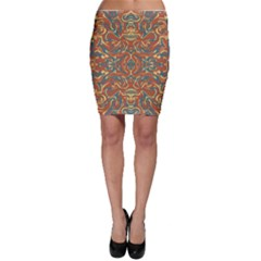 Multicolored Abstract Ornate Pattern Bodycon Skirt