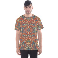Multicolored Abstract Ornate Pattern Men s Sports Mesh Tee