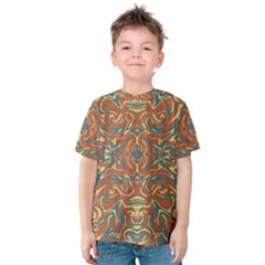 Multicolored Abstract Ornate Pattern Kids  Cotton Tee