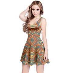 Multicolored Abstract Ornate Pattern Reversible Sleeveless Dress