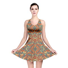 Multicolored Abstract Ornate Pattern Reversible Skater Dress