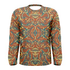 Multicolored Abstract Ornate Pattern Men s Long Sleeve Tee