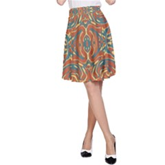 Multicolored Abstract Ornate Pattern A Line Skirt