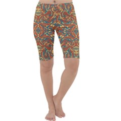 Multicolored Abstract Ornate Pattern Cropped Leggings