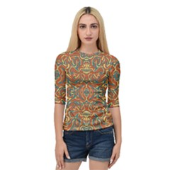 Multicolored Abstract Ornate Pattern Quarter Sleeve Raglan Tee