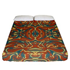 Multicolored Abstract Ornate Pattern Fitted Sheet (queen Size)
