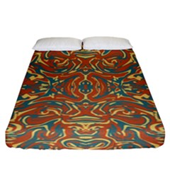 Multicolored Abstract Ornate Pattern Fitted Sheet (california King Size)