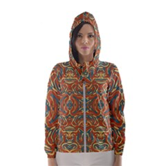 Multicolored Abstract Ornate Pattern Hooded Wind Breaker (women)