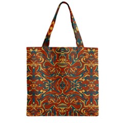 Multicolored Abstract Ornate Pattern Zipper Grocery Tote Bag