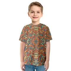 Multicolored Abstract Ornate Pattern Kids  Sport Mesh Tee