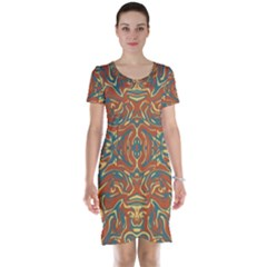 Multicolored Abstract Ornate Pattern Short Sleeve Nightdress