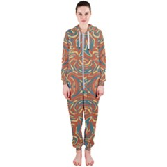 Multicolored Abstract Ornate Pattern Hooded Jumpsuit (ladies)
