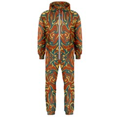 Multicolored Abstract Ornate Pattern Hooded Jumpsuit (men)