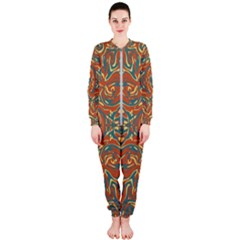 Multicolored Abstract Ornate Pattern Onepiece Jumpsuit (ladies)