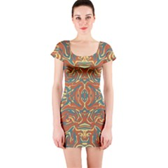 Multicolored Abstract Ornate Pattern Short Sleeve Bodycon Dress