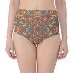 Multicolored Abstract Ornate Pattern High Waist Bikini Bottoms